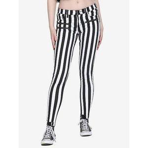 Stingerette jeans black and white striped jeans